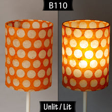 Oval Lamp Shade - B110 ~ Batik Dots on Orange, 40cm(w) x 30cm(h) x 30cm(d)