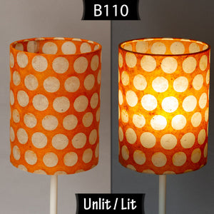 Drum Lamp Shade - B110 ~ Batik Dots on Orange, 60cm(d) x 30cm(h)