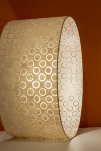 Drum Lamp Shade - P74 - Batik Natural Circles, 35cm(d) x 20cm(h)