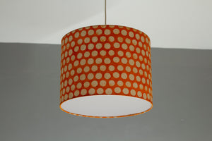 Drum Lamp Shade - B110 ~ Batik Dots on Orange, 40cm(d) x 30cm(h)