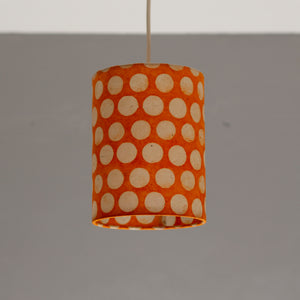 Drum Lamp Shade - B110 ~ Batik Dots on Orange, 15cm(diameter)