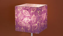 Square Lamp Shade - P68 - Batik Leaf on Purple, 20cm(w) x 20cm(h) x 20cm(d)