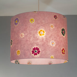 Drum Lamp Shade - P36 - Batik Multi Flower on Pink, 15cm(d) x 30cm(h)