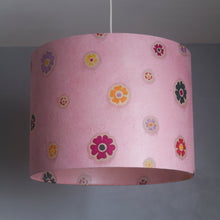 Oval Lamp Shade - P36 - Batik Multi Flower on Pink, 30cm(w) x 20cm(h) x 22cm(d)