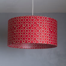 Oval Lamp Shade - P83 ~ Batik Red Circles, 30cm(w) x 20cm(h) x 22cm(d)