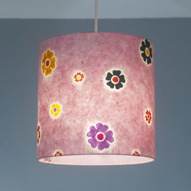 Drum Lamp Shade - P36 - Batik Multi Flower on Pink, 25cm x 25cm