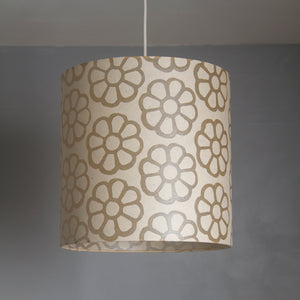 Drum Lamp Shade - P17 - Batik Big Flower on Natural, 30cm(d) x 20cm(h)