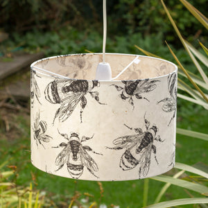 Drum Lamp Shade - P42 - Bees Screen Print on Natural Lokta, 30cm(d) x 20cm(h) - Imbue Lighting