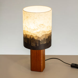 Hand-drawn Ink Sketch Lampshade on a Handmade Sapele Table Lamp