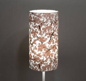 Drum Lamp Shade - W02 - Pink Cherry Blossom on Grey, 15cm(d) x 30cm(h)