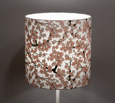 Drum Lamp Shade - W02 - Pink Cherry Blossom on Grey, 25cm x 25cm