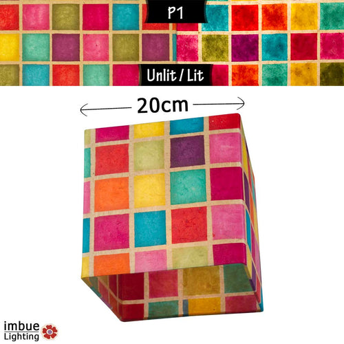 Square Lamp Shade - P01 - Batik Multi Square, 20cm(w) x 20cm(h) x 20cm(d) - Imbue Lighting