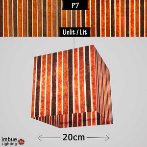 Square Lamp Shade - P07 - Batik Stripes Brown, 20cm(w) x 20cm(h) x 20cm(d) - Imbue Lighting