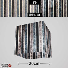 Square Lamp Shade - P08 - Batik Stripes Grey, 20cm(w) x 20cm(h) x 20cm(d) - Imbue Lighting