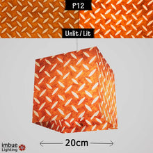 Square Lamp Shade - P12 - Batik Tread Plate Brown, 20cm(w) x 20cm(h) x 20cm(d) - Imbue Lighting
