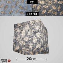 Square Lamp Shade - P31 - Batik Leaf on Blue, 20cm(w) x 20cm(h) x 20cm(d) - Imbue Lighting