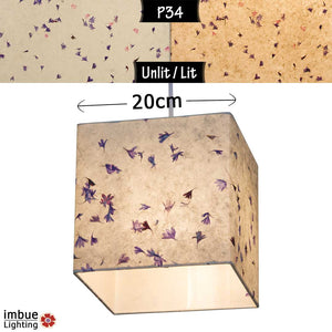 Square Lamp Shade - P34 - Cornflower Petals on Natural Lokta, 20cm(w) x 20cm(h) x 20cm(d) - Imbue Lighting