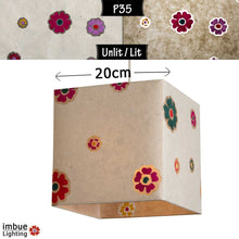 Square Lamp Shade - P35 - Batik Multi Flower on Natural, 20cm(w) x 20cm(h) x 20cm(d) - Imbue Lighting