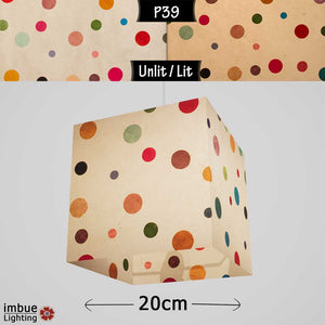Square Lamp Shade - P39 - Polka Dots on Natural Lokta, 20cm(w) x 20cm(h) x 20cm(d) - Imbue Lighting