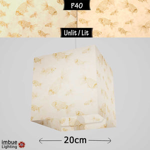 Square Lamp Shade - P40 - Gold Fish Screen Print on Natural Lokta, 20cm(w) x 20cm(h) x 20cm(d) - Imbue Lighting
