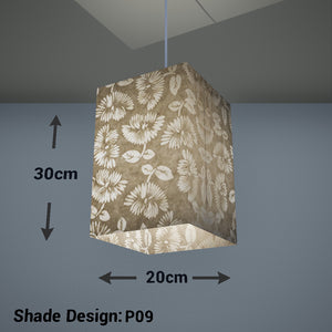 Square Lamp Shade - P09 - Batik Peony on Natural, 20cm(w) x 30cm(h) x 20cm(d) - Imbue Lighting