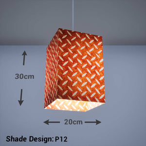 Square Lamp Shade - P12 - Batik Tread Plate Brown, 20cm(w) x 30cm(h) x 20cm(d) - Imbue Lighting