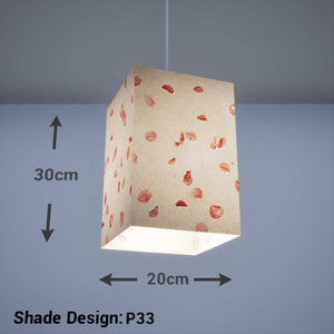 Square Lamp Shade - P33 - Rose Petals on Natural Lokta, 20cm(w) x 30cm(h) x 20cm(d) - Imbue Lighting