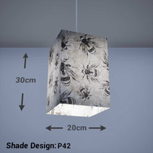 Square Lamp Shade - P42 - Bees Screen Print on Natural Lokta, 20cm(w) x 30cm(h) x 20cm(d) - Imbue Lighting