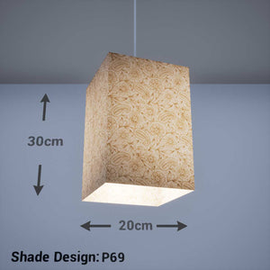 Square Lamp Shade - P69 - Garden Gold on Natural, 20cm(w) x 30cm(h) x 20cm(d) - Imbue Lighting