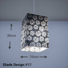 Square Lamp Shade - P77 - Batik Star Flower Grey, 20cm(w) x 30cm(h) x 20cm(d) - Imbue Lighting