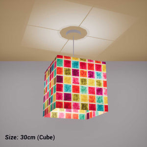 Square Lamp Shade - P01 - Batik Multi Square, 30cm(w) x 30cm(h) x 30cm(d) - Imbue Lighting