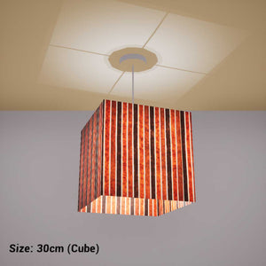 Square Lamp Shade - P07 - Batik Stripes Brown, 30cm(w) x 30cm(h) x 30cm(d) - Imbue Lighting