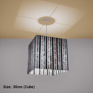 Square Lamp Shade - P08 - Batik Stripes Grey, 30cm(w) x 30cm(h) x 30cm(d) - Imbue Lighting