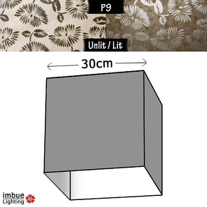 Square Lamp Shade - P09 - Batik Peony on Natural, 30cm(w) x 30cm(h) x 30cm(d) - Imbue Lighting