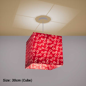 Square Lamp Shade - P16 - Batik Hearts on Cranberry, 30cm(w) x 30cm(h) x 30cm(d) - Imbue Lighting