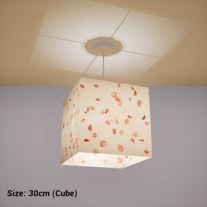 Square Lamp Shade - P33 - Rose Petals on Natural Lokta, 30cm(w) x 30cm(h) x 30cm(d) - Imbue Lighting