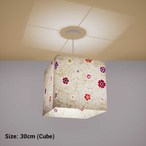 Square Lamp Shade - P35 - Batik Multi Flower on Natural, 30cm(w) x 30cm(h) x 30cm(d) - Imbue Lighting