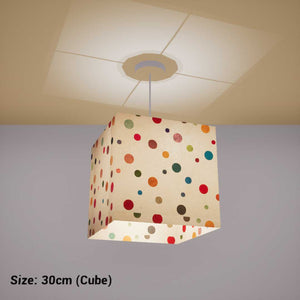 Square Lamp Shade - P39 - Polka Dots on Natural Lokta, 30cm(w) x 30cm(h) x 30cm(d) - Imbue Lighting