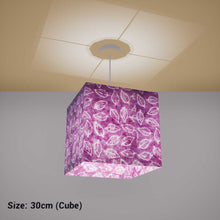 Square Lamp Shade - P68 - Batik Leaf on Purple, 30cm(w) x 30cm(h) x 30cm(d) - Imbue Lighting