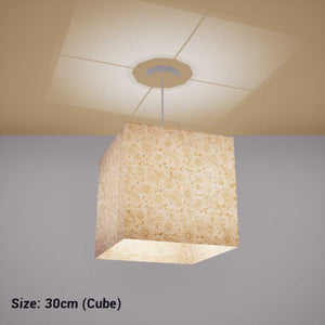 Square Lamp Shade - P69 - Garden Gold on Natural, 30cm(w) x 30cm(h) x 30cm(d) - Imbue Lighting