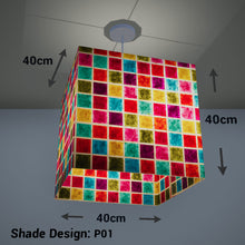 Square Lamp Shade - P01 - Batik Multi Square, 40cm(w) x 40cm(h) x 40cm(d) - Imbue Lighting