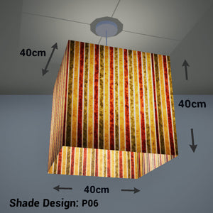 Square Lamp Shade - P06 - Batik Stripes Autumn, 40cm(w) x 40cm(h) x 40cm(d) - Imbue Lighting