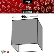 Square Lamp Shade - P30 - Batik Leaf on Red, 40cm(w) x 40cm(h) x 40cm(d) - Imbue Lighting