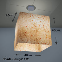 Square Lamp Shade - P32 - Marigold Petals on Natural Lokta, 40cm(w) x 40cm(h) x 40cm(d) - Imbue Lighting