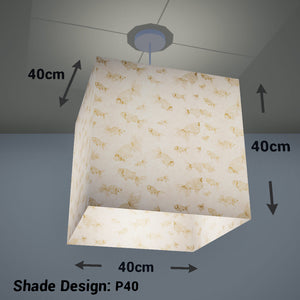 Square Lamp Shade - P40 - Gold Fish Screen Print on Natural Lokta, 40cm(w) x 40cm(h) x 40cm(d) - Imbue Lighting