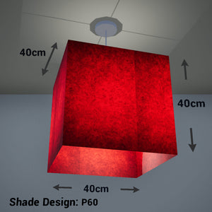 Square Lamp Shade - P60 - Red Lokta, 40cm(w) x 40cm(h) x 40cm(d) - Imbue Lighting