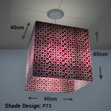 Square Lamp Shade - P73 - Batik Red Circles, 40cm(w) x 40cm(h) x 40cm(d) - Imbue Lighting