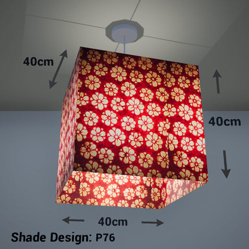 Square Lamp Shade - P76 - Batik Star Flower Red, 40cm(w) x 40cm(h) x 40cm(d) - Imbue Lighting