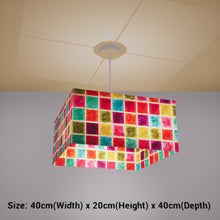 Square Lamp Shade - P01 - Batik Multi Square, 40cm(w) x 20cm(h) x 40cm(d) - Imbue Lighting