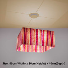 Square Lamp Shade - P04 - Batik Stripes Pink, 40cm(w) x 20cm(h) x 40cm(d) - Imbue Lighting